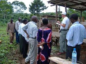 Rotarian Andrew Bartholomew teaching farmer trainers at a training centre in Kulika