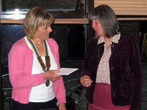 Judy Goodall from Chilton Wives presents a cheque to President Diane Clarke