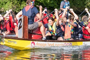 Teams racing in Rotary Dragon Boat Day
