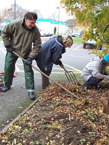Three Rotary Club members gardening at Abingdon Community Hospital
